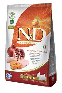 Farmina N&D Chicken and Pomegranate ADULT MINI (Grain Free) – Pumpkin formula
