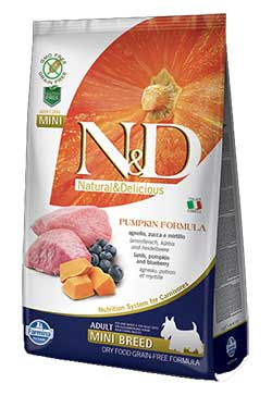 Farmina N&D Lamb and Blueberry ADULT MINI (Grain Free) - Pumpkin formula